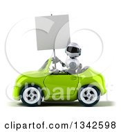Clipart Of A 3d White And Blue Robot Holding A Blank Sign And Driving A Green Convertible Car To The Left Royalty Free Illustration
