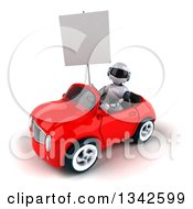 Clipart Of A 3d White And Blue Robot Holding A Blank Sign And Driving A Red Convertible Car Slightly To The Left Royalty Free Illustration