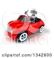 Clipart Of A 3d White And Blue Robot Giving A Thumb Up And Driving A Red Convertible Car Slightly To The Left Royalty Free Illustration