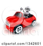 Clipart Of A 3d White And Blue Robot Giving A Thumb Down And Driving A Red Convertible Car Slightly To The Left Royalty Free Illustration