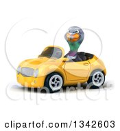 Clipart Of A 3d Pigeon Driving A Yellow Convertible Car Slightly To The Left 2 Royalty Free Illustration