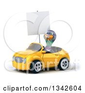 Clipart Of A 3d Pigeon Holding A Blank Sign And Driving A Yellow Convertible Car Slightly To The Left Royalty Free Illustration
