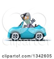 Clipart Of A 3d Bespectacled Pigeon Waving And Driving A Blue Convertible Car To The Left Royalty Free Illustration