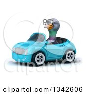 Clipart Of A 3d Bespectacled Pigeon Driving A Blue Convertible Car Slightly To The Left 2 Royalty Free Illustration