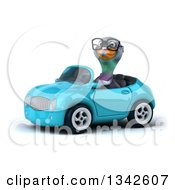 Clipart Of A 3d Bespectacled Pigeon Driving A Blue Convertible Car Slightly To The Left 3 Royalty Free Illustration