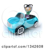 Clipart Of A 3d Bespectacled Pigeon Driving A Blue Convertible Car Slightly To The Left Royalty Free Illustration