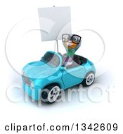 Clipart Of A 3d Bespectacled Pigeon Looking Up Holding A Blank Sign And Driving A Blue Convertible Car Slightly To The Left Royalty Free Illustration