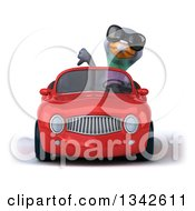 Clipart Of A 3d Pigeon Wearing Sunglasses Giving A Thumb Down And Driving A Red Convertible Car Royalty Free Illustration