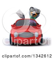 Clipart Of A 3d Pigeon Wearing Sunglasses Holding An Envelope And Driving A Red Convertible Car Royalty Free Illustration