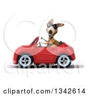 Clipart Of A 3d Kangaroo Wearing Sunglasses Giving A Thumb Up And Driving A Re Convertible Car To The Left Royalty Free Illustration