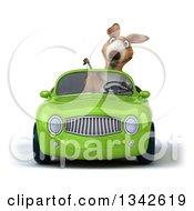 Clipart Of A 3d Kangaroo Giving A Thumb Down And Driving A Green Convertible Car Royalty Free Illustration