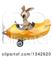Clipart Of A 3d Kangaroo Aviator Pilot Flying A Yellow Airplane To The Left Royalty Free Illustration