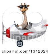 Clipart Of A 3d Aviator Giraffe Wearing Sunglasses And Flying A White And Red Airplane To The Left Royalty Free Illustration
