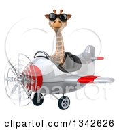 Clipart Of A 3d Aviator Giraffe Wearing Sunglasses And Flying A White And Red Airplane Slightly To The Left Royalty Free Illustration