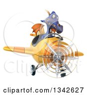 Clipart Of A 3d Purple Dragon Aviator Pilot Flying A Yellow Airplane Slightly To The Right Royalty Free Illustration
