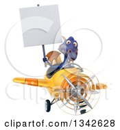 Clipart Of A 3d Purple Dragon Aviator Pilot Holding A Blank Sign And Flying A Yellow Airplane Slightly To The Right Royalty Free Illustration