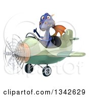 Clipart Of A 3d Purple Dragon Aviator Pilot Giving A Thumb Up And Flying A Green Airplane Slightly To The Left Royalty Free Illustration