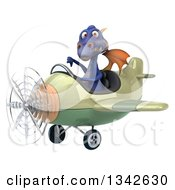 Clipart Of A 3d Purple Dragon Aviator Pilot Giving A Thumb Down And Flying A Green Airplane Slightly To The Left Royalty Free Illustration