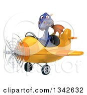 Clipart Of A 3d Purple Dragon Aviator Pilot Flying A Yellow Airplane Slightly To The Left Royalty Free Illustration