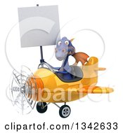 Clipart Of A 3d Purple Dragon Aviator Pilot Holding A Blank Sign And Flying A Yellow Airplane Slightly To The Left Royalty Free Illustration