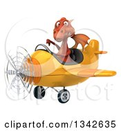 Clipart Of A 3d Red Dragon Aviator Pilot Giving A Thumb Down And Flying A Yellow Airplane Slightly To The Left Royalty Free Illustration