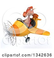 Clipart Of A 3d Red Dragon Aviator Pilot Flying A Yellow Airplane Slightly To The Left Royalty Free Illustration