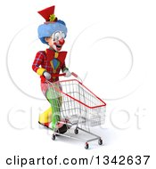 Clipart Of A 3d Colorful Clown Walking Slightly To The Right With A Shopping Cart Royalty Free Illustration