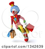 Clipart Of A 3d Colorful Clown Flying With Shopping Bags Royalty Free Illustration