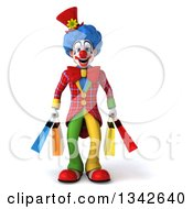 Clipart Of A 3d Colorful Clown Carrying Shopping Bags Royalty Free Illustration by Julos