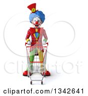 Clipart Of A 3d Colorful Clown Standing With A Shopping Cart Royalty Free Illustration
