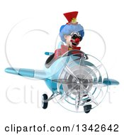 Clipart Of A 3d Colorful Clown Wearing Sunglasses And Flying A Blue Airplane Slightly To The Right Royalty Free Illustration