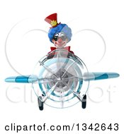Clipart Of A 3d Colorful Clown Wearing Sunglasses And Flying A Blue Airplane Royalty Free Illustration