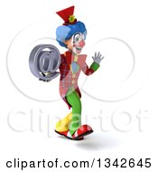 Clipart Of A 3d Colorful Clown Holding An Email Arobase At Symbol Walking To The Right And Waving Royalty Free Illustration