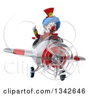 Clipart Of A 3d Colorful Clown Giving A Thumb Up And Flying A White And Red Airplane Royalty Free Illustration