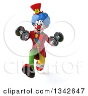 Clipart Of A 3d Colorful Clown Working Out Sprinting With Dumbbells Royalty Free Illustration