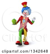 Clipart Of A 3d Colorful Clown Holding A Green Bell Pepper Walking And Waving Royalty Free Illustration