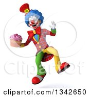 Clipart Of A 3d Colorful Clown Holding A Cupcake And Jumping Royalty Free Illustration