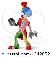 Clipart Of A 3d Colorful Clown Working Out Facing Slightly Left Doing Bicep Curls With Dumbbells Royalty Free Illustration