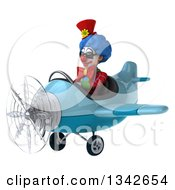 Clipart Of A 3d Colorful Clown Wearing Sunglasses And Flying A Blue Airplane Slightly To The Left Royalty Free Illustration