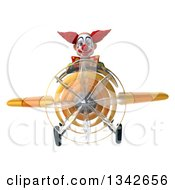 Clipart Of A 3d Funky Clown Flying A Yellow Airplane Royalty Free Illustration