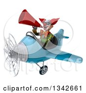 Clipart Of A 3d Funky Clown Wearing Sunlgasses Announcing With A Megaphone And Flying A Blue Airplane Slightly To The Left Royalty Free Illustration