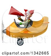 Clipart Of A 3d Funky Clown Announcing With A Megaphone And Flying A Yellow Airplane To The Left Royalty Free Illustration