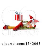 Clipart Of A 3d Funky Clown Holding A Gift And Resting On His Side Royalty Free Illustration