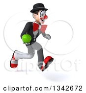 Clipart Of A 3d White And Black Clown Holding A Green Apple And Sprinting To The Right Royalty Free Illustration
