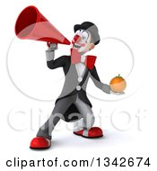 Clipart Of A 3d White And Black Clown Holding A Navel Orange And Announcing With A Megaphone Royalty Free Illustration
