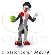 Clipart Of A 3d White And Black Clown Holding A Green Bell Pepper And Dancing Royalty Free Illustration