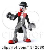 3d White And Black Clown Working Out Doing Bicep Curls With Dumbbells