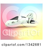 Clipart Of A 3d Futuristic Hover Vehicle Over Colorful Gradient Royalty Free Illustration