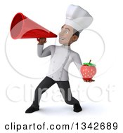Clipart Of A 3d Young Black Male Chef Holding A Strawberry And Announcing With A Megaphone To The Left Royalty Free Illustration