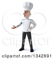 Clipart Of A 3d Young Black Male Chef Presenting Royalty Free Illustration by Julos